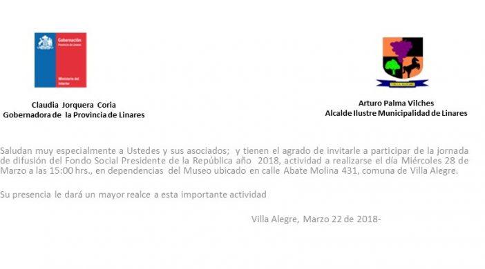INVITACION FONDO SOCIAL PRESIDENTE DE LA REPUBLICA, VILLA ALEGRE